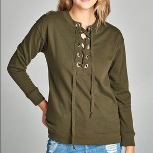 Tops - Lace up French terry sweatshirt